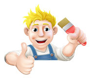 Paintbrush man over sign thumbs up Stock Images