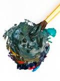 Paintbrush miesza stubarwne akwarele fotografia royalty free