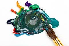 Paintbrush miesza stubarwne akwarele obrazy royalty free