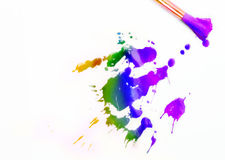 Paintbrush and mixed acrylic paint Royalty Free Stock Images