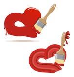 Paintbrush och målade röda hjärtor Arkivfoton