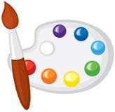 Paintbrush och palett av målarfärger royaltyfri illustrationer