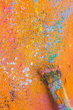 Paintbrush with oil paint Royalty Free Stock Images