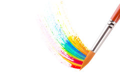 Paintbrush with oil paint stoke Stock Images