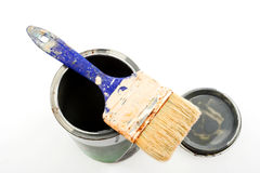 Paintbrush on a paint can Stock Photos