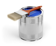Paintbrush and paint can Royalty Free Stock Photography