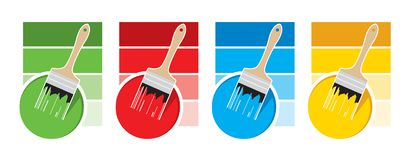 Paintbrush and paint can vector icons with four color swatch. Paintbrush and paint can vector illustration in four colors swatch options royalty free illustration