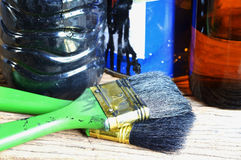 Paintbrush and paint can Stock Photography