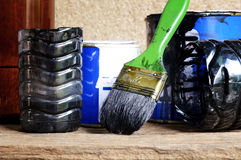 Paintbrush and paint can Royalty Free Stock Image