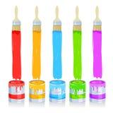 Paintbrush, paint cans Stock Image