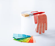 Free Paintbrush, Paint Pot, Gloves And Pantone Samplers Stock Image - 33506141