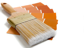 Paintbrush with paint samples Royalty Free Stock Image