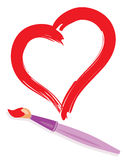 Paintbrush and painted heart Royalty Free Stock Images