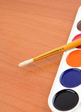 Paintbrush and painters palette Stock Photos