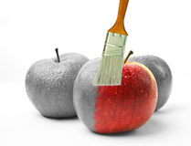 Paintbrush painting a fresh red wet apple which is partly black and white and partly colored Stock Image
