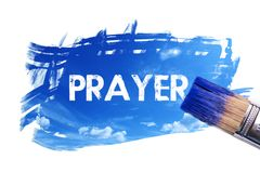 Painting prayer word. Paintbrush is painting sky with prayer word on white screen , isolated background royalty free illustration