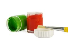 Paintbrush with paints. Paintbrush with red and green paints Stock Photos