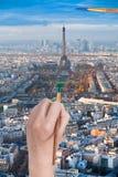 Paintbrush paints in green colour Champ de Mars Stock Photo