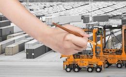 Paintbrush paints orange crane in cargo port Royalty Free Stock Images