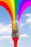 Paintbrush paints rainbow royalty free stock photo