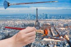 Paintbrush paints trees near Eiffel tower, Paris Royalty Free Stock Image