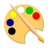 Paintbrush and palette Royalty Free Stock Photo