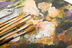 Paintbrush and Palette Stock Images