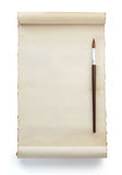 Paintbrush and paper  on white Royalty Free Stock Photos