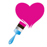Paintbrush and pink heart. Royalty Free Stock Image