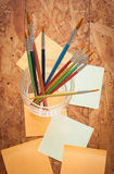 Paintbrush and post it Royalty Free Stock Photos