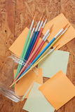 Paintbrush and post it Royalty Free Stock Photography