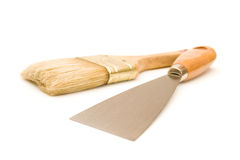 Paintbrush and putty knife Royalty Free Stock Image