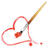 Paintbrush and Red Heart Royalty Free Stock Photos