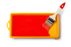Paintbrush with red paint Stock Photography