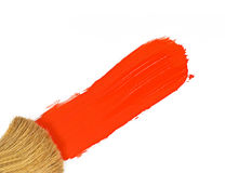 Paintbrush And Red Paint Isolated on White Royalty Free Stock Photography