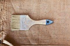 A paintbrush on sacking Royalty Free Stock Photos