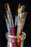 Paintbrush Set In Glass Jar Royalty Free Stock Photo