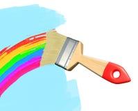 Paintbrush som drar en regnbåge royaltyfri illustrationer