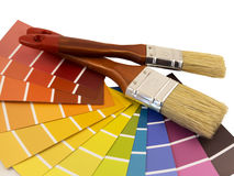 Paintbrush and swatches. On white background Royalty Free Stock Photo