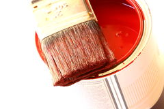Paintbrush on tin Stock Photography