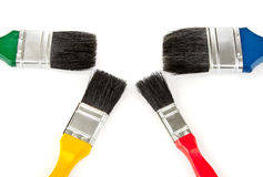 Paintbrush tools for painting colour set. Brush tools for drawing colour set on white background Stock Images