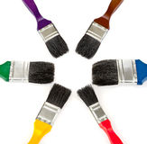 Paintbrush tools for painting colour set. Brush tools for drawing colour set on white background Stock Photography