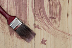 Paintbrush tools on wooden background Royalty Free Stock Photo