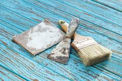 Paintbrush  trowel sandpaper still life wood teak antique Royalty Free Stock Image