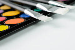 Paintbrush and watercolor set Royalty Free Stock Images