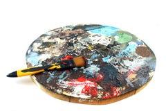 PaintBrush on a white Background. Paint brush and palette on a white Background Stock Photo