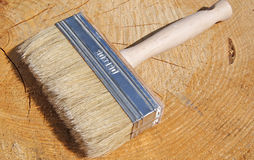 Paintbrush on wood background Royalty Free Stock Photo