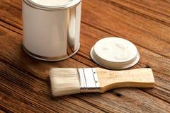 Paintbrush wood coating tool wood teak still life background Royalty Free Stock Image