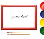 Paintbrush, wood frame and paint Royalty Free Stock Photography