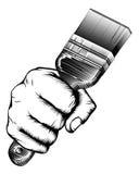 Paintbrush Woodcut Fist Hand Stock Image